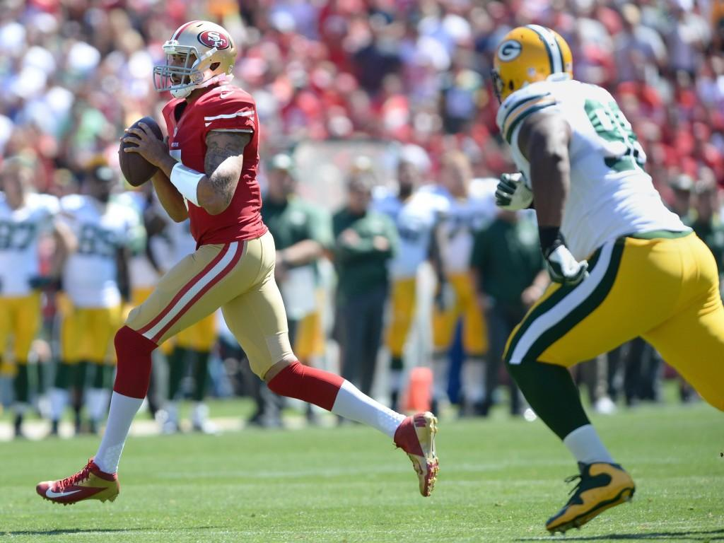 Colin+Kaepernick+threw+for+over+400+yards+in+his+season+opener+against+the+Packers