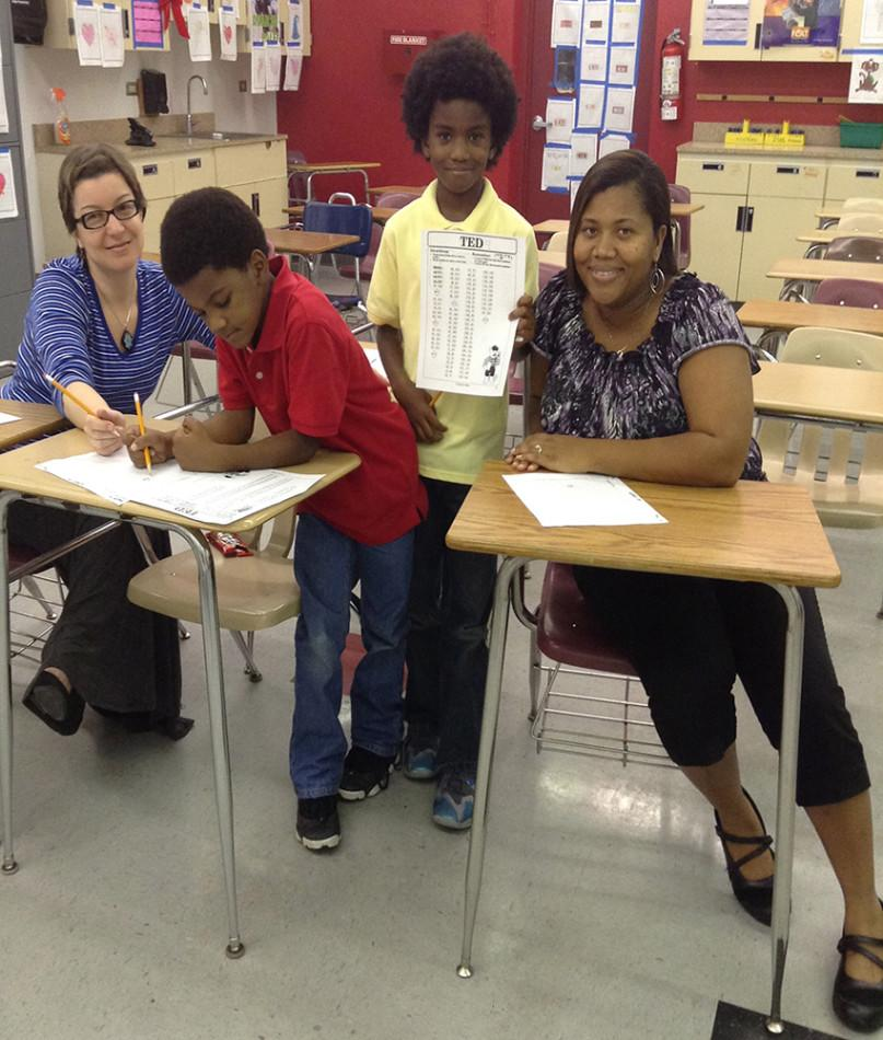 Ms. Muntean is tutoring Mrs. Bloomfield's children algebra 1 material, coordinates.