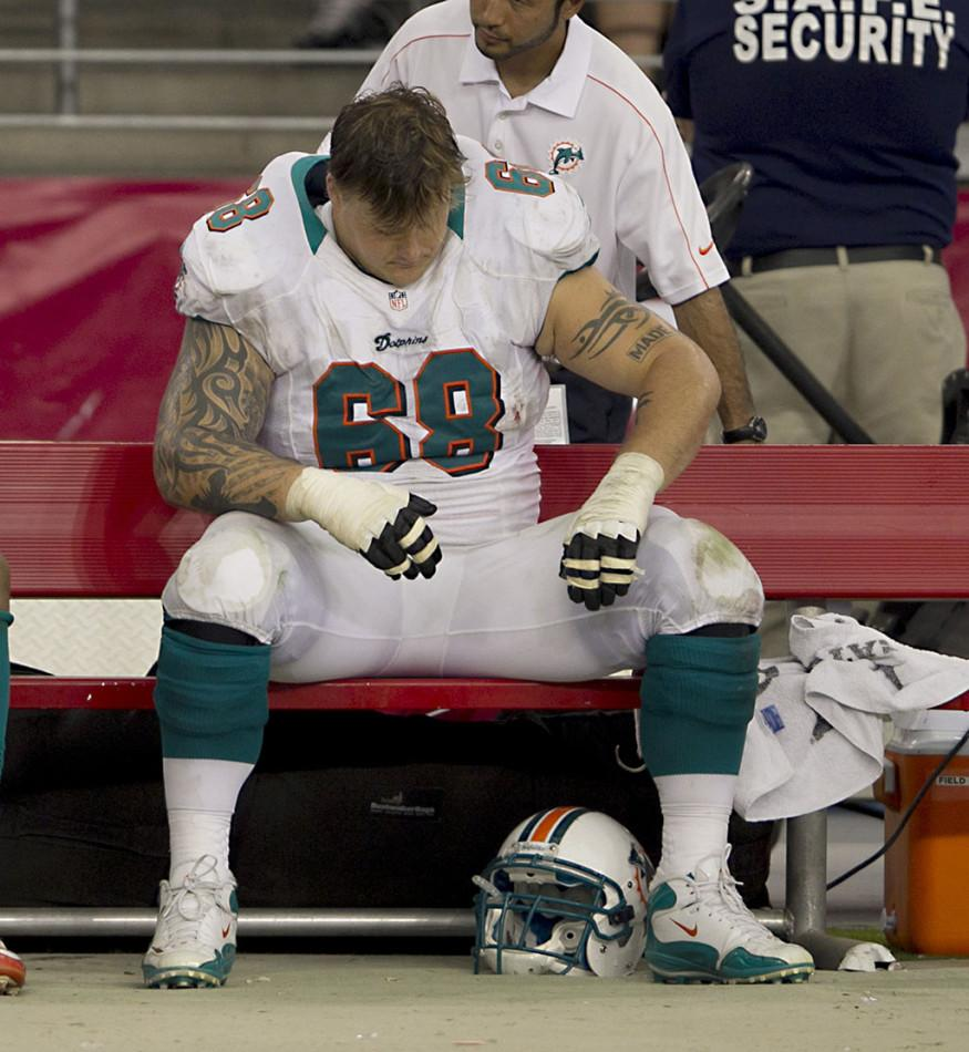 Miami Dolphins Richie Incognito sits dejected on bench after the game with the Arizona Cardinals at University of Phoenix Stadium in Phoenix, Arizona, on Sunday, September 30, 2012. The Arizona Cardinals defeated the Miami Dolphins, 24-21. (Joe Rimkus Jr./Miami Herald/MCT)