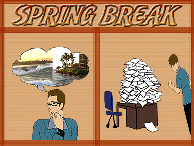 A depiction of what students want to do over spring break versus what they actually do.