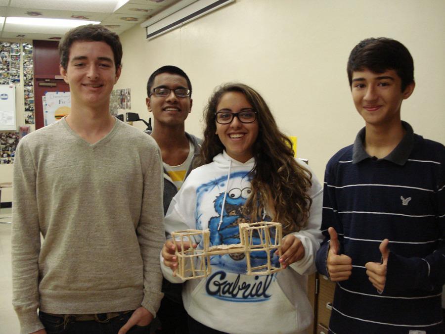 Devon+Weber%2C+Chait+Singh%2C+Bianca+Berrios%2C+David+Oliveria%2C+currently+11th+graders%2C+in+Mrs.+Rubow%27s+Engineering+club+during+the+2013-2014+school+year.
