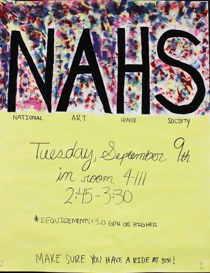 NAHS+poster+in+the+Visual+Arts+hallway.