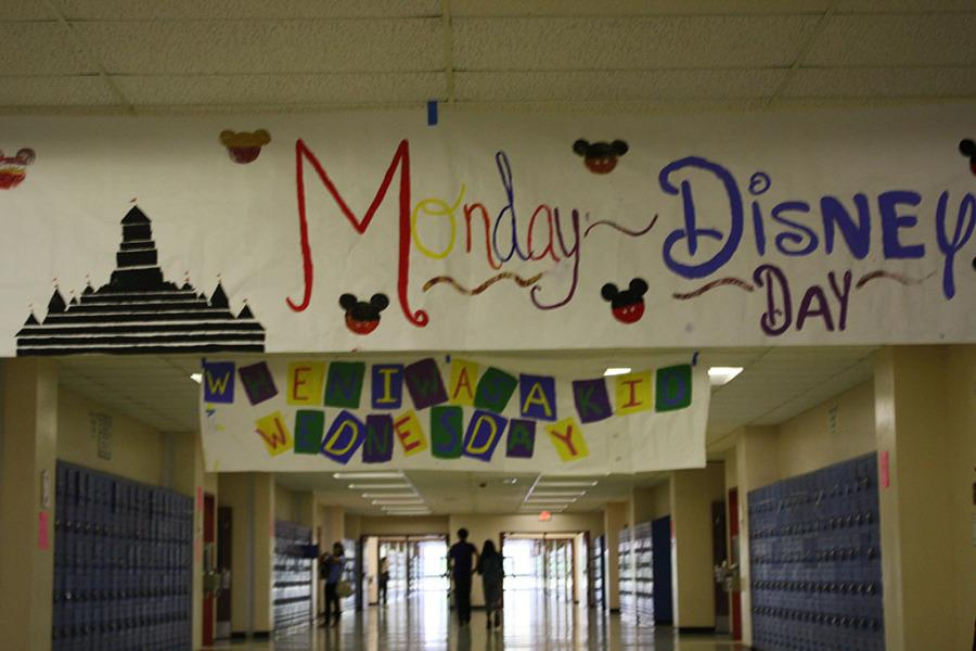 8000 building with Spirit Week posters!