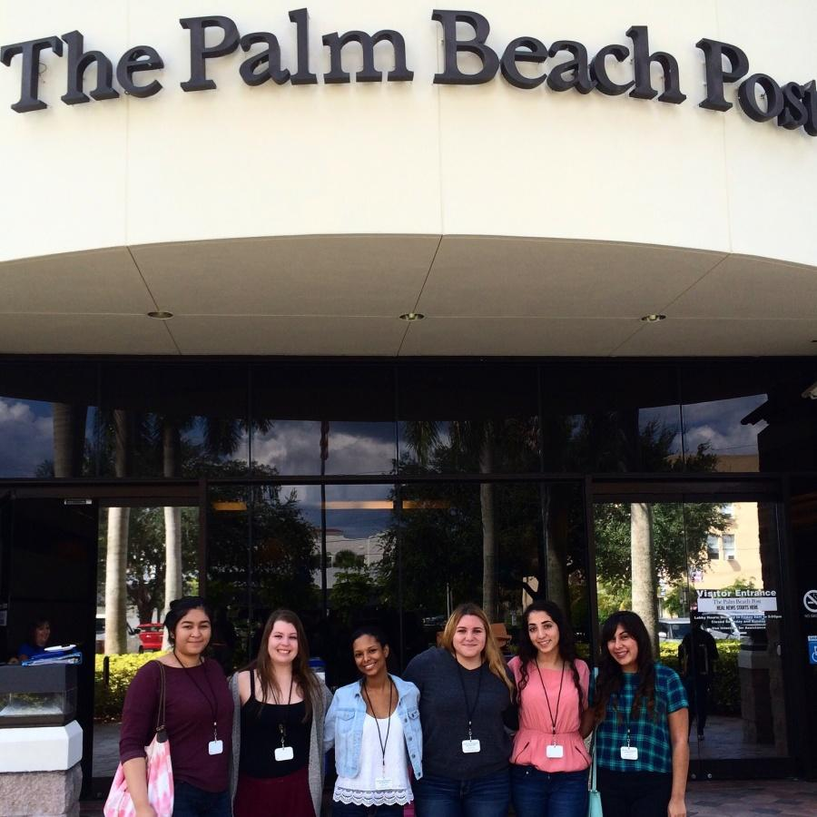 The+newspaper+staff+enjoys+a+day+at+the+Palm+Beach+Post+for+the+high+school+journalism+workshop.+