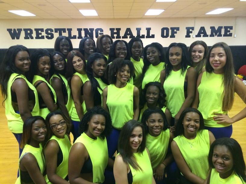 The dance team after their performance at the Homecoming Pep Rally.