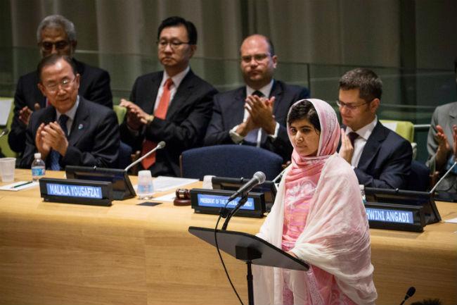Malala+speaks+at+the+UN.