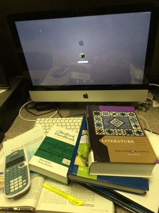 The many textbooks to aid with procrastination projects.