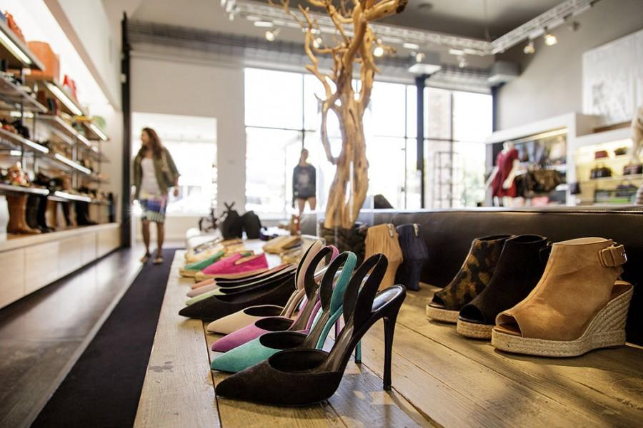 Elysewalker brand shoes rest on display at Elyse Walker boutique, June 23, 2014 in Pacific Palisades, Calif. The owner, Elyse Walker, has leveraged her Pacific Palisades boutique into a thriving web business. (Ricardo DeAratanha/Los Angeles Times/MCT)
