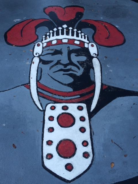 The Chief head in the courtyard represents the school's spirit. It also represents being a leader and being strong. GO CHIEFS!