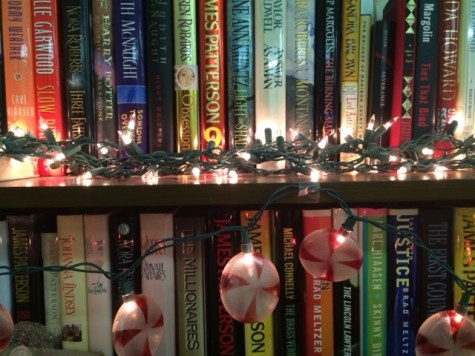 English teacher, Mrs. Finn, lights up her classroom for the holidays.