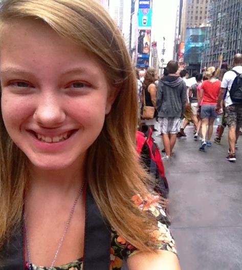 Emily Sleezer in New York City; the city of her dream school NYU.