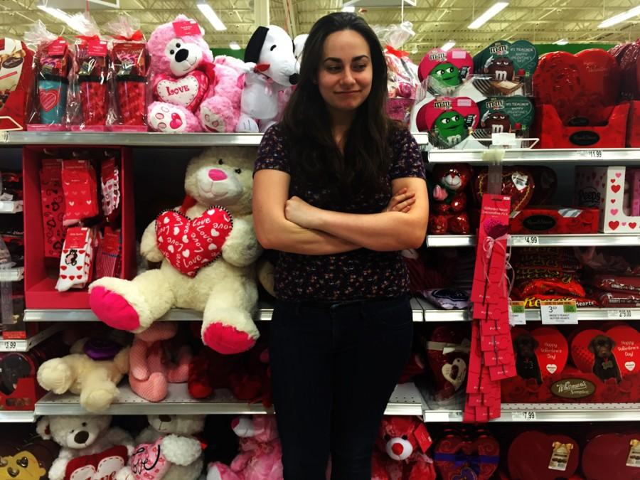 Briana+Mazzocchi+poses+in+front+of+a+Valentine%27s+display+showing+her+disapproval+of+the+holiday.