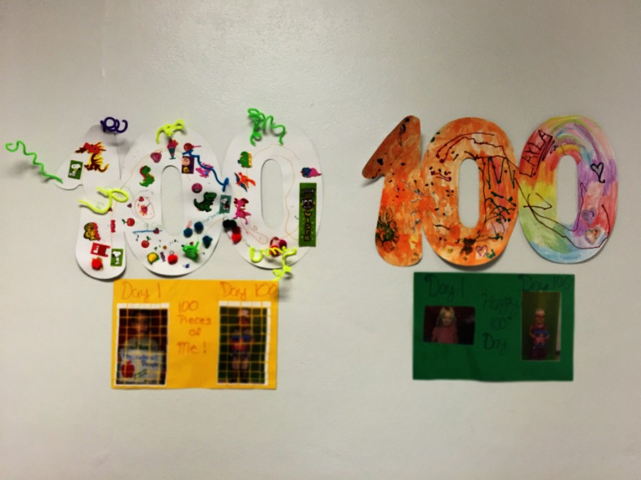 The 3000 building is decorated with 100 days of school