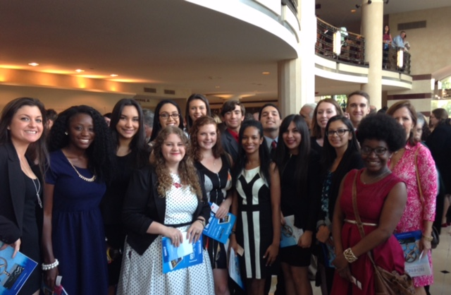 Santaluces Pathfinder nominees pose in the Kravis Center with Guidance Counselor Ms. Neer and Social Studies teacher Mrs. Sunset.
