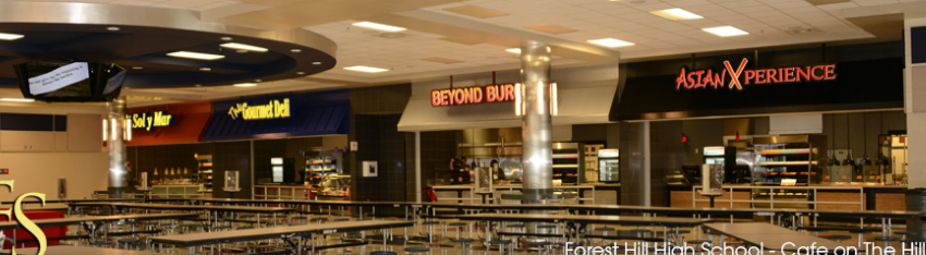 Forest Hill High School's food court was completed in 2013, the second high school to receive the reengineering. Atlantic High was the first in 2011.