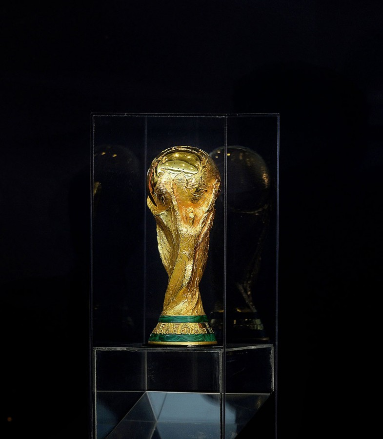 The World Cup trophy is seen at a FIFA World Cup Trophy Tour Ceremony at the State Department in Washington, Monday, April 14, 2014. (Olivier Douliery/Abaca Press/MCT)