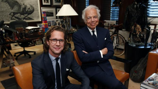 (Taken by Yahoo.com) Designer Ralph Lauren, right, poses in his office with Stefan Larsson