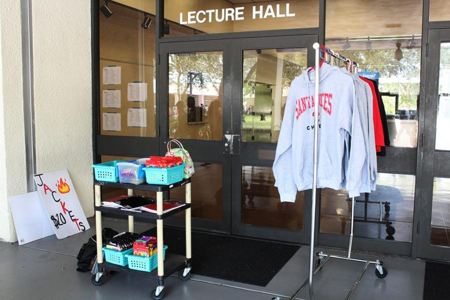 Santaluces+SGA+continues+to+sell+school+shirts+and+jackets+along+with+supplies.+Everything+can+be+purchased+during+all+lunches+most+days.