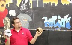 Mr. Kalina clowning around in the SGA room.