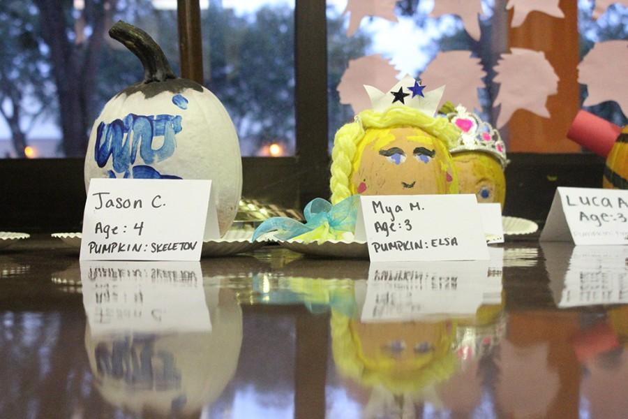 Pumpkins by both Jason C. and Mya M. on display in the Main Office.