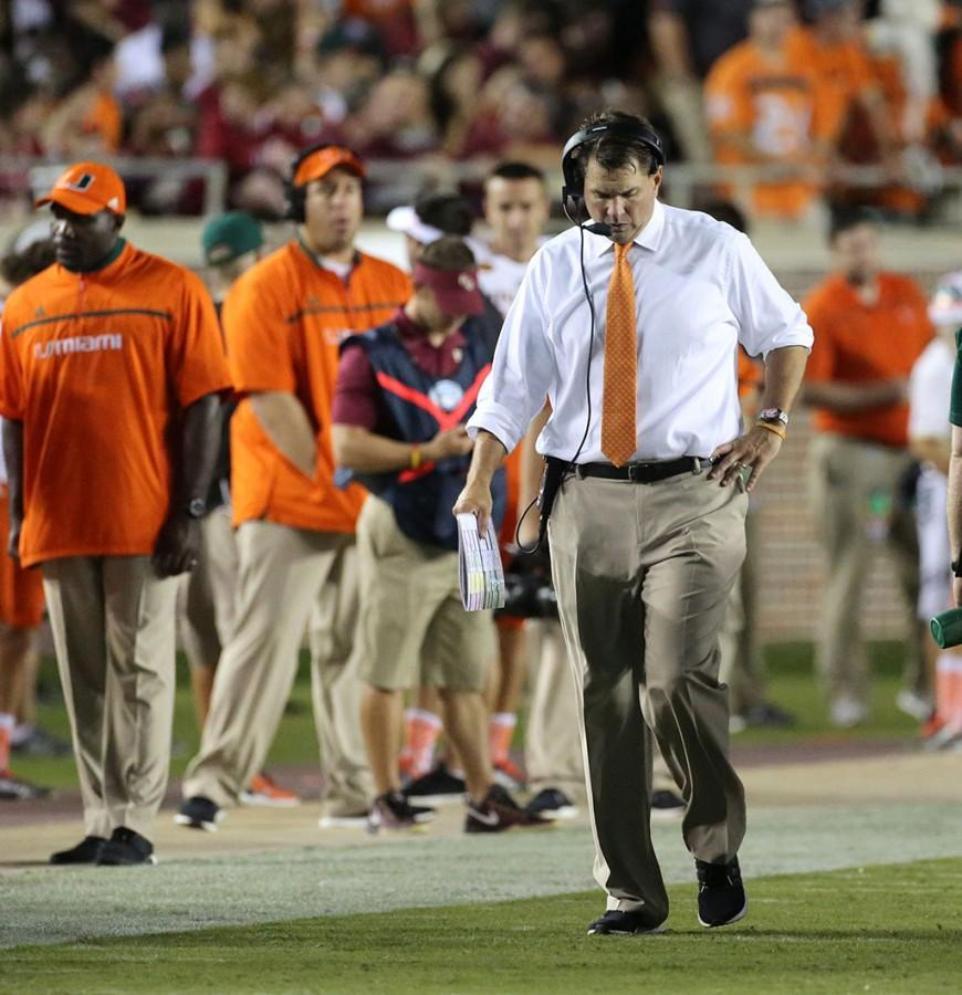 Miami+head+coach+Al+Golden+paces+the+sideline+during+the+second+quarter+against+Florida+State+at+Doak+Campbell+Stadium+in+Tallahassee%2C+Fla.%2C+on+Saturday%2C+Oct.+10%2C+2015.+%28Joe+Burbank%2FOrlando+Sentinel%2FTNS%29