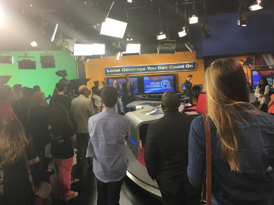 Channel 5 anchor Michael Williams gave high school and college students a tour of the station and the anchor desk.