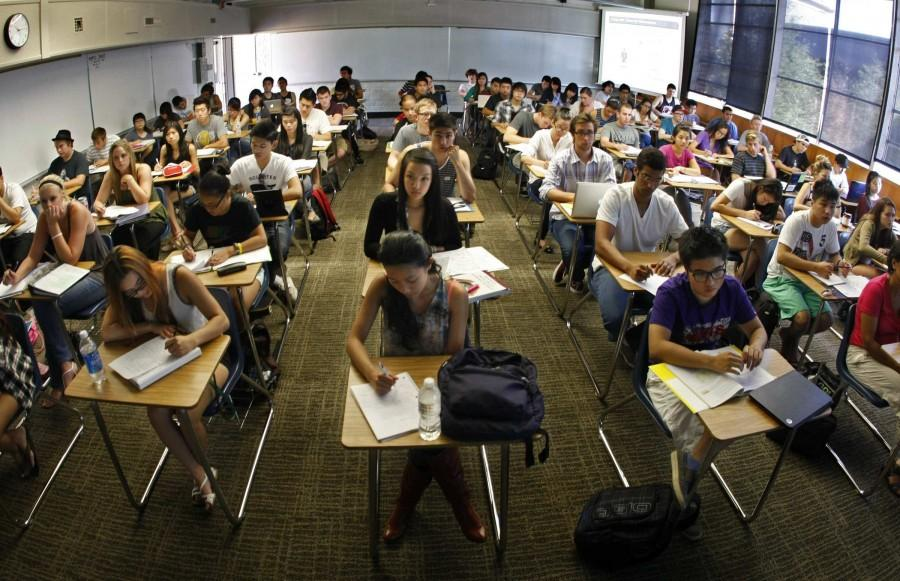Every desk is taken in professor Jeanne Neil's Accounting 101 classroom at Orange Coast Community College in Costa Mesa, California, on September 10, 2011. She said dozens more students were left on the