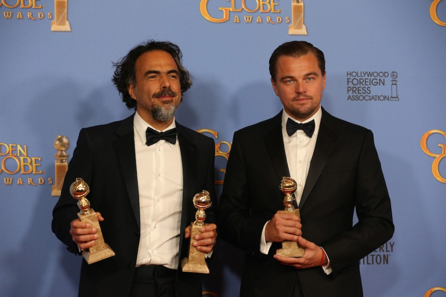 Director Alejandro Gonzalez Inarritu and actor Leonardo DiCaprio backstage at the 73rd Annual Golden Globe Awards show at the Beverly Hilton Hotel in Beverly Hills, Calif., on Sunday, Jan. 10, 2016. (Allen J. Schaben/Los Angeles Times/TNS)