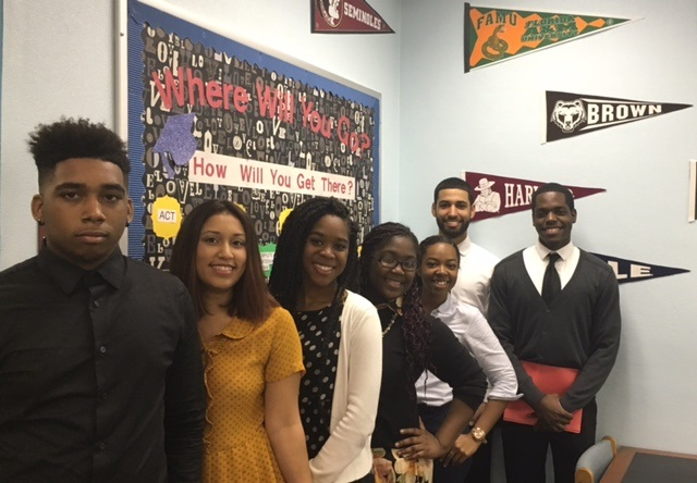 Seniors+visited+the+Palm+Beach+County+Convention+Center+to+speak+to+representatives+of+Historically+Black+Colleges+and+Universities.+From+left+to+right%3A%0ANathan+Jones%2C+Evelyn+Valle+Ramirez%2C+Krystal+Collins%2C+Seaynah+Gaspard%2C+Adrian+Rivas%2C+Ysabel+Santos%2C+Kerry+Touisant.