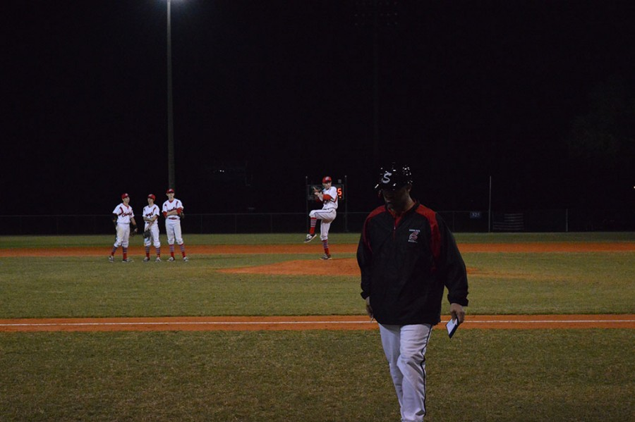 Coach+Franco+makes+a+pitching+change%2C+putting+Senior+Mckay+Giffin+in+the+game.