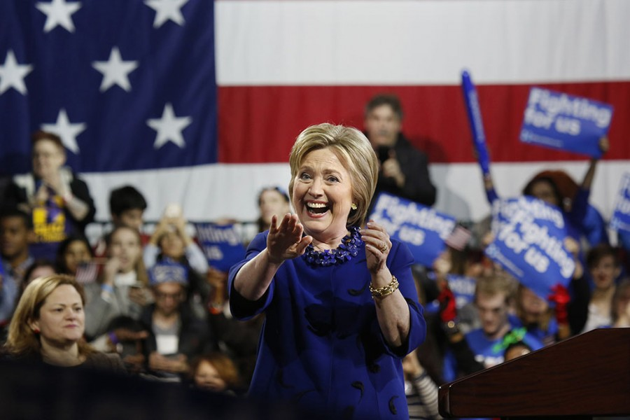 Democratic primary presidential candidate Hillary Clinton holds a rally at the Javis Center convention hall in New York on Wednesday, March 2, 2016. (Carolyn Cole/Los Angeles Times/TNS)
