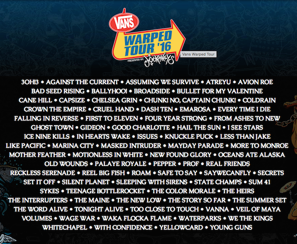 Reviewing the 2016 Warped Tour Lineup