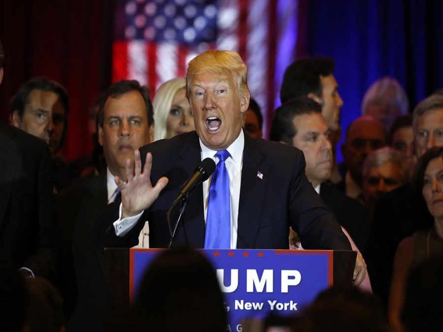 Republican presidential candidate Donald Trump addresses the media after his sweep of five states' primaries on Tuesday, April 26, 2016, in New York. (Carolyn Cole/Los Angeles Times/TNS)