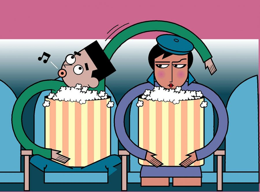 300 dpi Jeff Dionise illustration of man and woman sitting next to each other at movies. MCT 1995  krtnational national; krtworld world; krt; krtcampus campus; mctillustration; 01005000; ACE; cinema; ENT; krtarts art; krtentertainment entertainment; krtmovie movie film; dating date; krt mct dionise; movie theatre movie theater; popcorn; 1995; krt1995