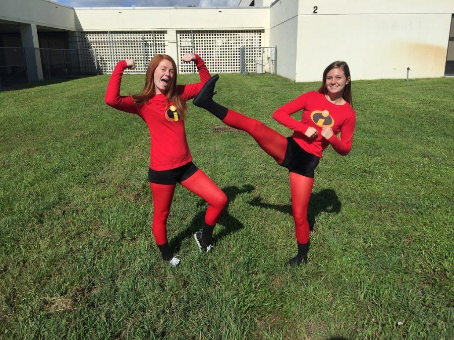 Sara+Moran+and+Brittany+Morgan+show+their+school+spirit+for+Superhero+Day.
