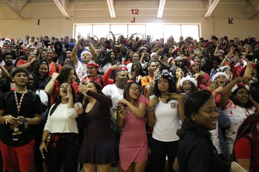 Seniors cheer during their first pep rally.