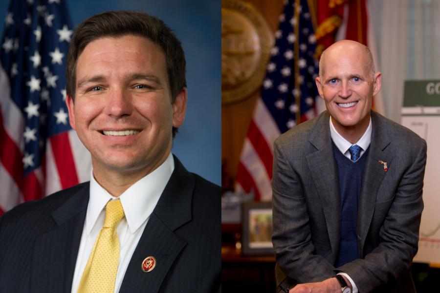 Florida's governor-elect Ron DeSantis (Left) and current governor Rick Scott (Right)