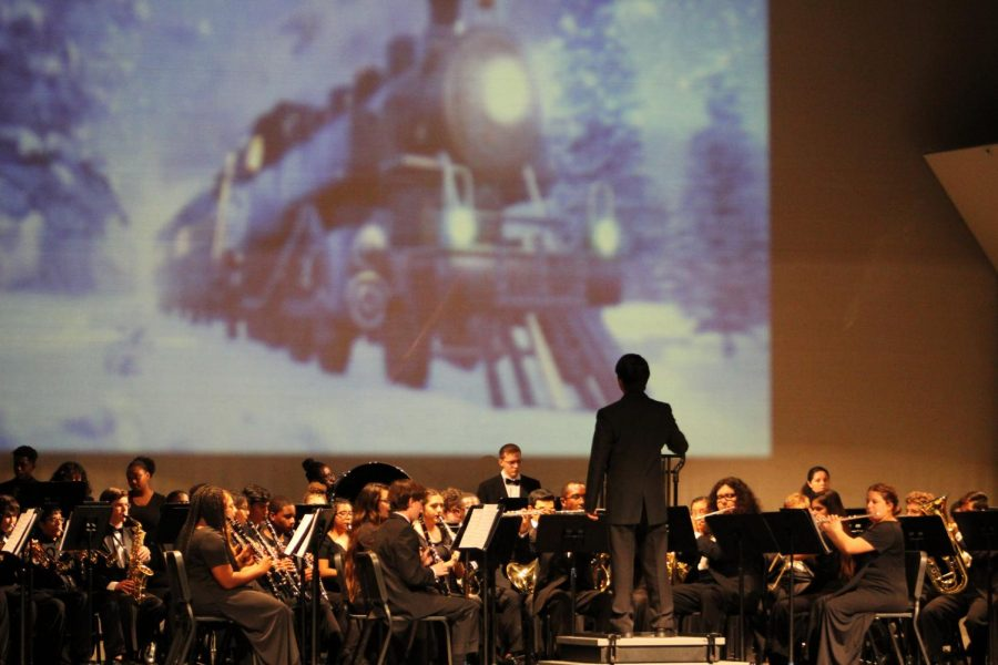 The Santaluces band plays songs from The Polar Express during their concert on Friday