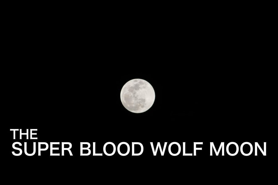 The Super Blood Wolf Moon is shown here just hours before the lunar eclipse had occurred.