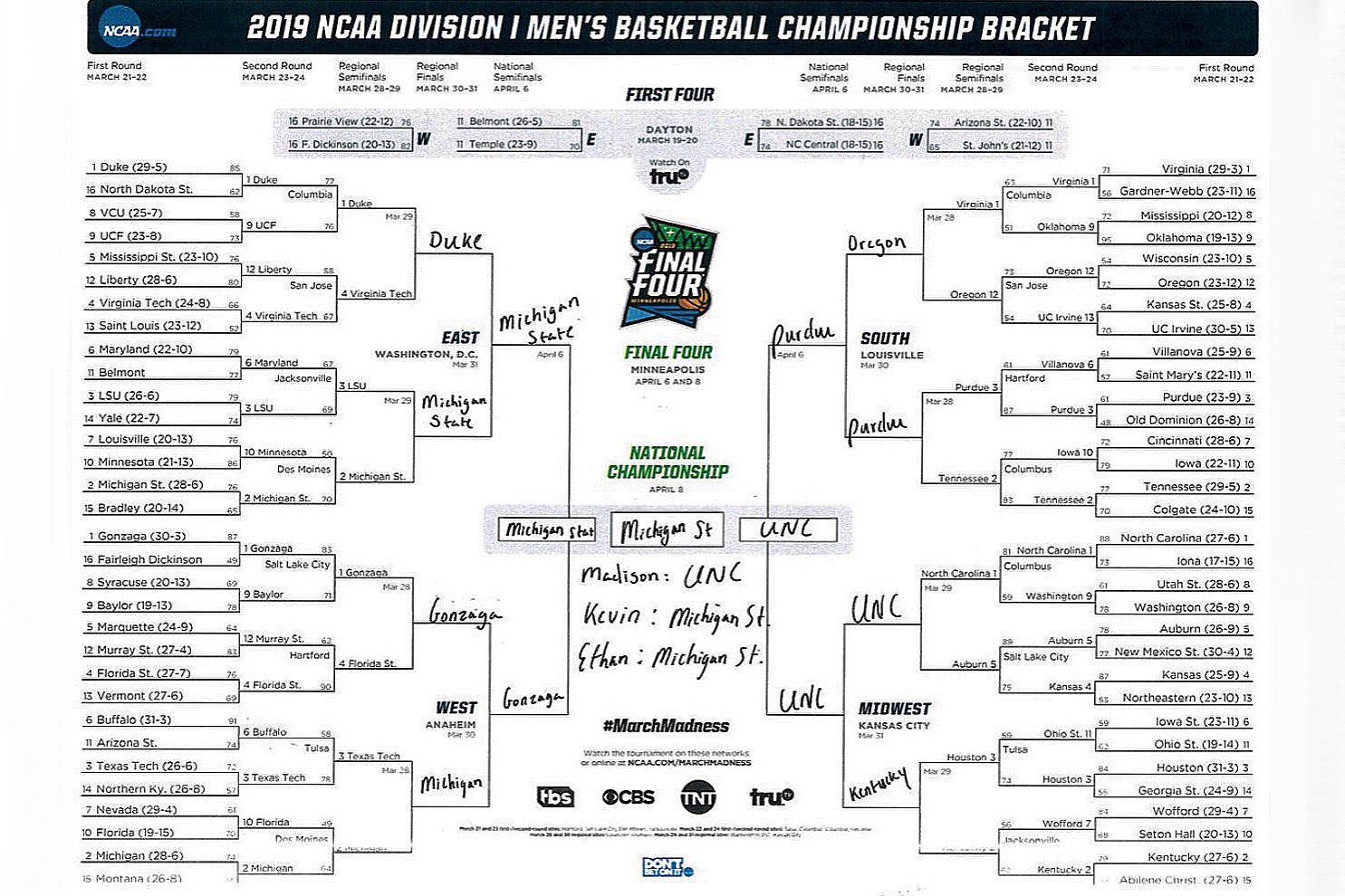 On The Game's March Madness Bracket