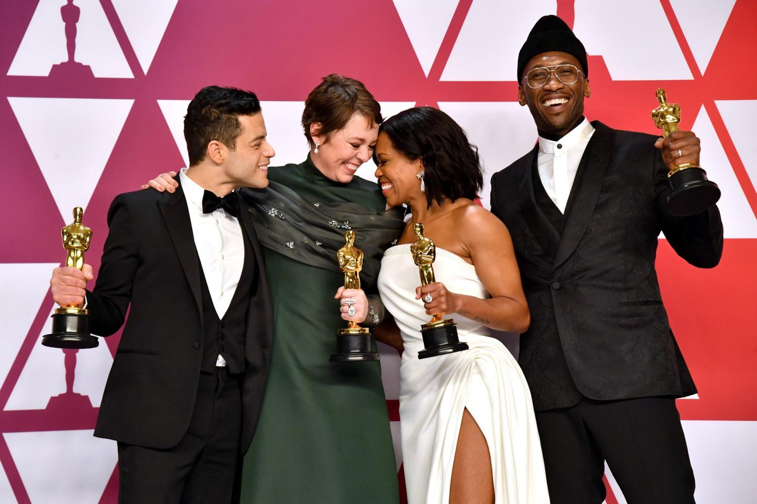 Rami Malek, Olivia Coleman, Regina King, and Mahershala Ali with their Oscars for the acting categories.