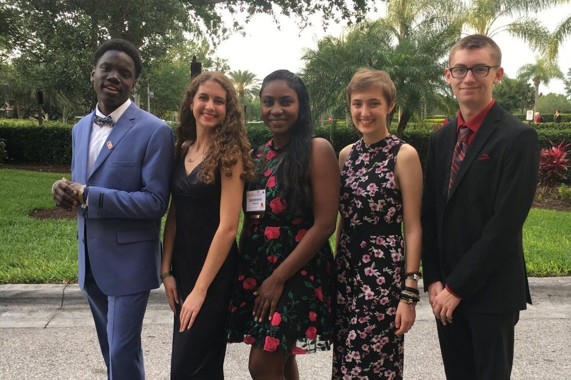 Santaluces Key Club officers and their sponsor before the governor's banquet and ball.