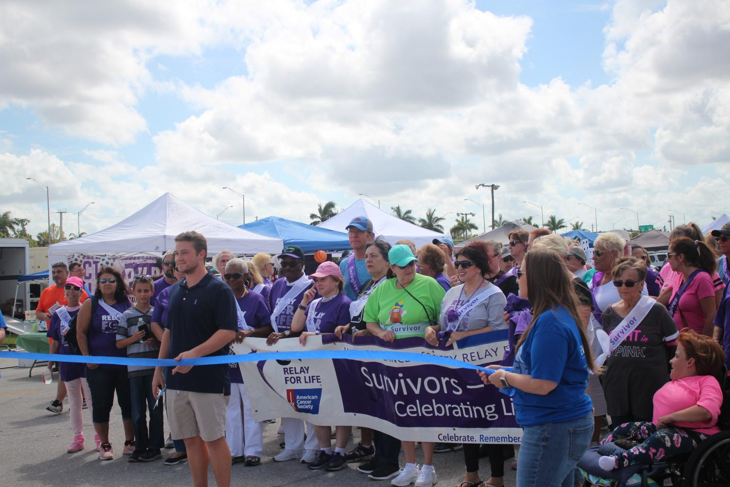 Relay for life initial ribbon cutting walk.