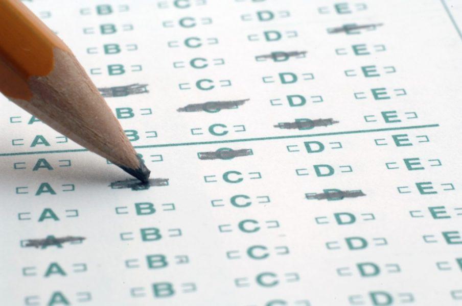 A sample bubbled SAT answer sheet.