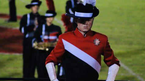 Ryan Jayne, Drum Major, leads his sections.