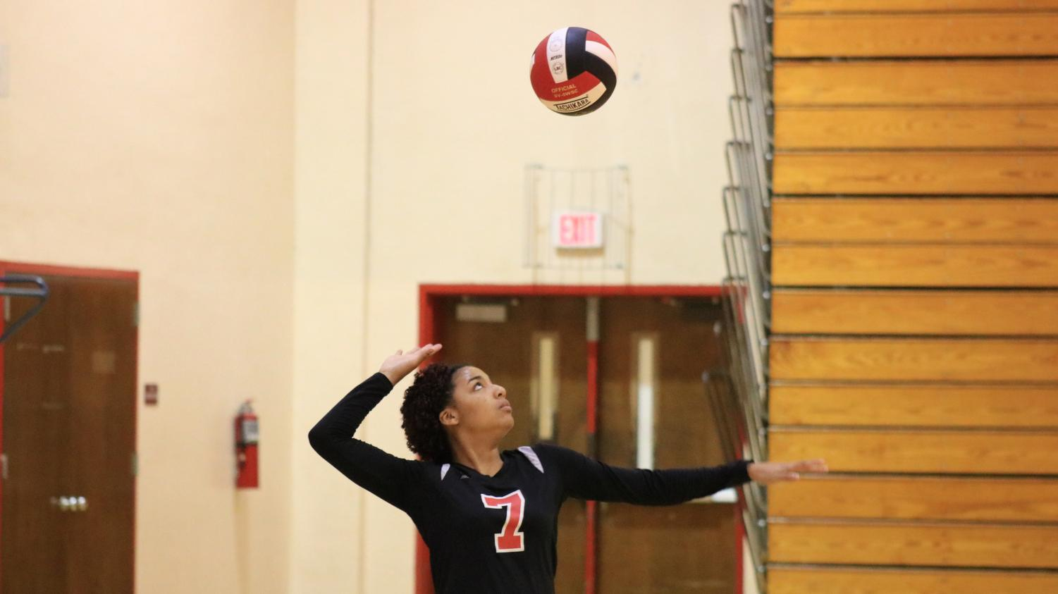 Ashleigh Russell-digilio serves the ball.