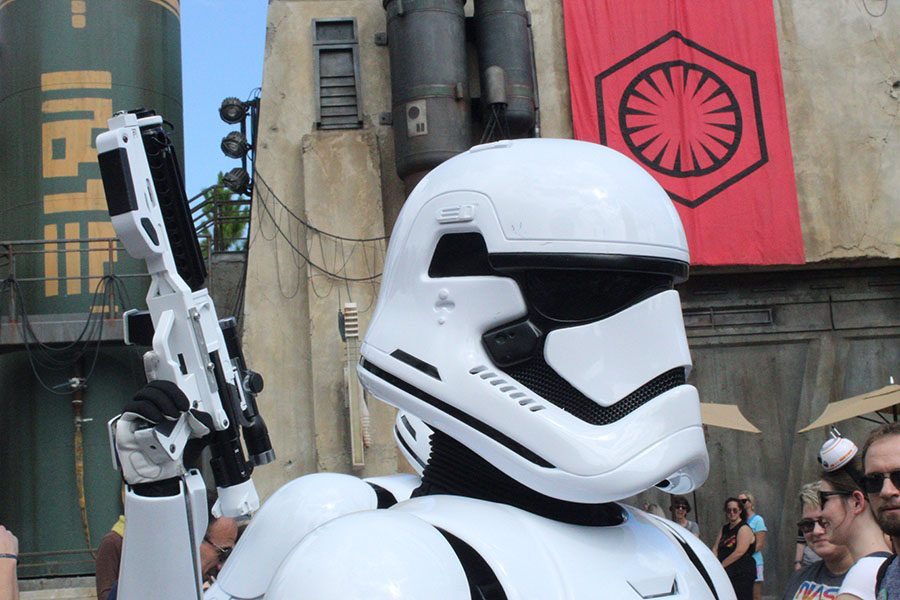 A storm trooper patrolling the crowd for any rebels.