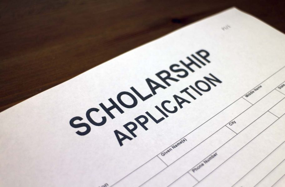 A picture depicting an application for a scholarship.