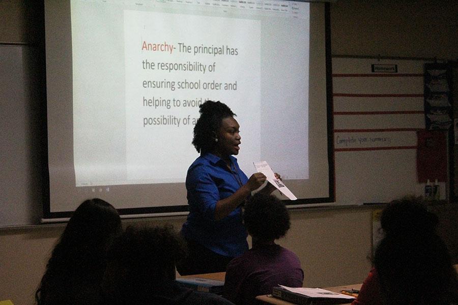 Ms.+Capre+teaching+her+first+period+class.