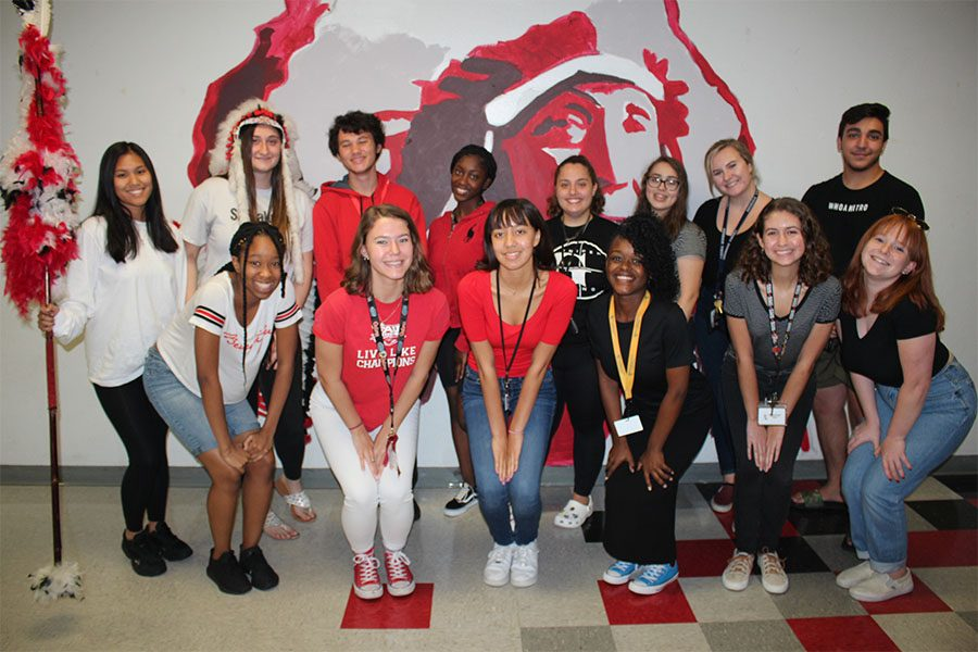 On spirit day for Homecoming Week, freshmen wear white, sophomores wear red, juniors wear black, and seniors wear all colors.